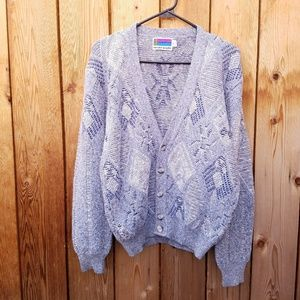 Vintage Sweater Graphix Blue White Grandpa Sweater