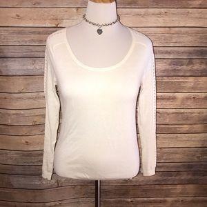 LOFT Ivory Cut Out Sleeve Silk Blend Sweater