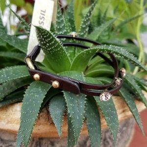 FOSSIL Brown Leather and sparkling stones bracelet