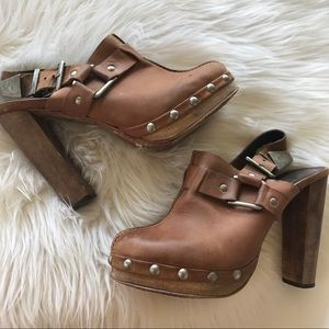 TopShop Premium brown Leather Mule Heels