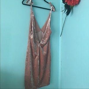 Pink Faux Velvet Dress H&M