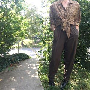 Vintage Brown Floral Button Up Blouse