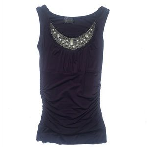 Tops - Navy blue dressy tank with beads, pearls Small