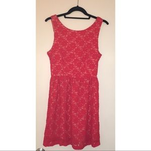 Cute Mystic Coral Red Lace Sundress!