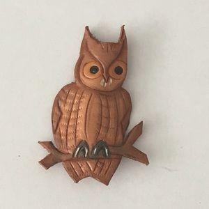 Vintage Leather Owl Brooch