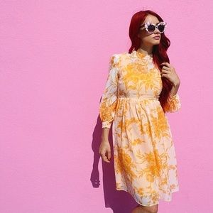 Dresses & Skirts - Yellow Georgia vintage babydoll dress long sleeve