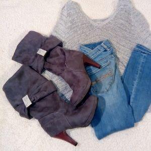 Quipid Fall Heel Grey Boots NWOT Sz 7