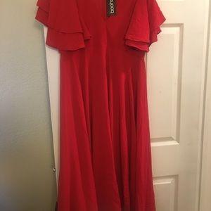 Boohoo Dresses - Freyja Ruffle Angel Sleeve Bolo Tie Midi Dress 6b6e6366b
