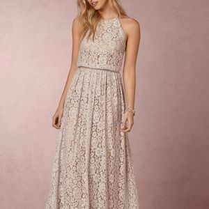 BHLDN Platinum/Blush Lace Alana Dress