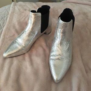TopShop Krazy Chelsea Silver Booties