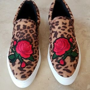 Leopard Rose Slip on Shoes NWT