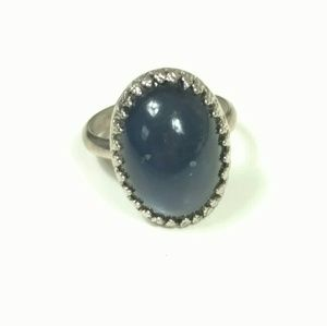 "Vintage blue ""stone"" ring in silver tone size 6.25"