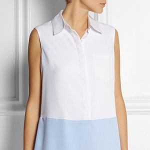 Altuzarra White Blue Stripe Sleeveless Shirt Dress