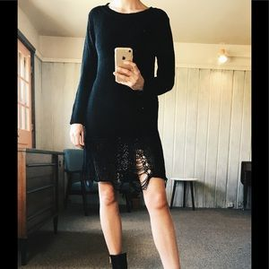 Unif Loose Strings Black Sweater Dress XS