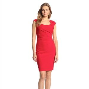 Calvin Klein Red Ruched Side Cap Sleeve Sheath