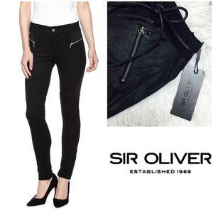 Sir Oliver European Black Moto Leggings