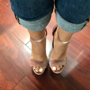 Platform pink velvet heels
