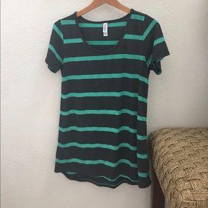 LulaRoe classic tee grey w/ turquoise stripe