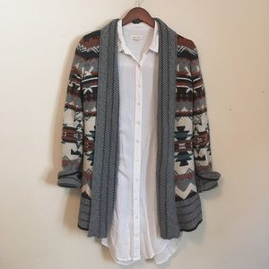 Urban Outfitters — Aztec Print Open Cardigan — S