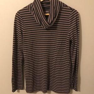 LOFT tan & navy striped cowl neck long sleeve