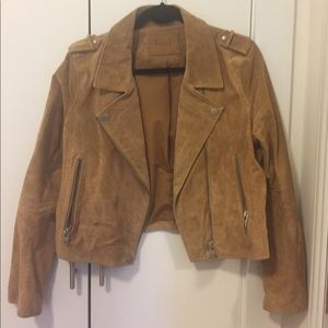 Blank nyc size L brown suede Moto jacket