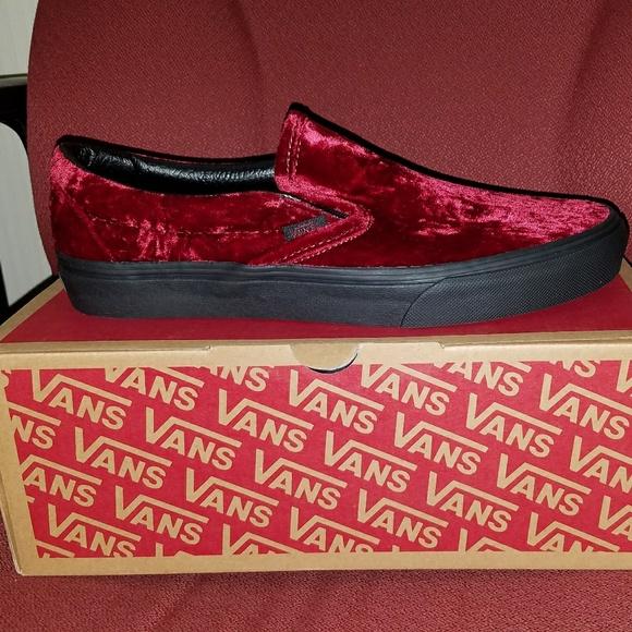 2c7f483b63d5 BRAND NEW VANS Velvet Oxblood black Slip-ons