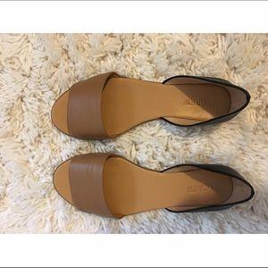 J. Crew peep toe leather flats