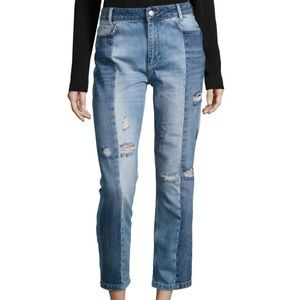 Free People Cropped Patchwork Jeans