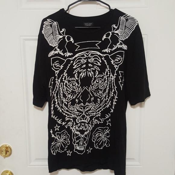 zara mens black t shirt