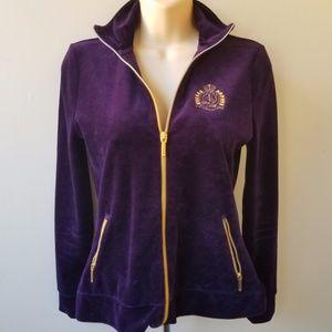 RALPH LAUREN Women's Purple Vlvet Look Zip Top