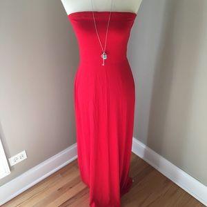 Red Strapless Maxi Dress L
