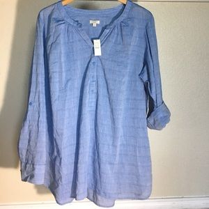 Talbots 2x Blouse %100 Cotton Blue Nwt Msrp$74.50
