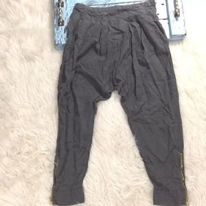 Zara Basic Jogger Pants Ankle Zip Relaxed Loose