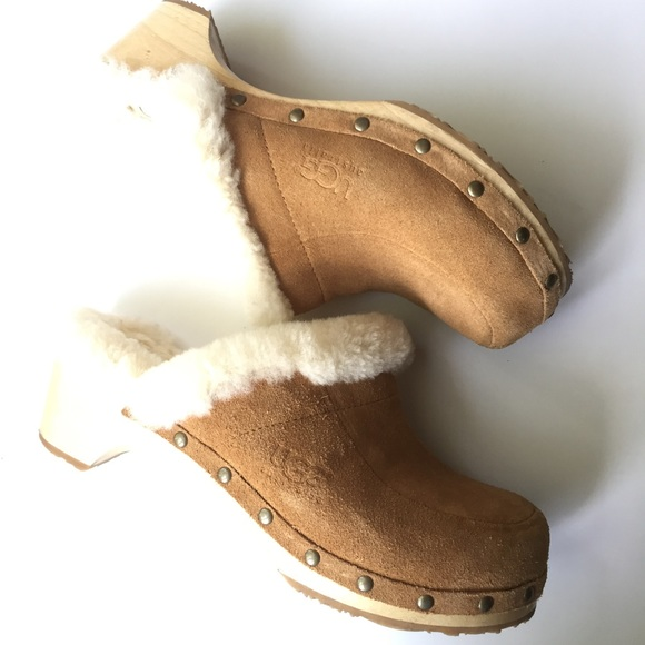 46c7f3f1dab uGG Suede fur lined clogs