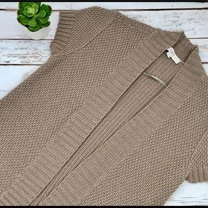 Loft Short Sleeved Open Front Tan Cardigan