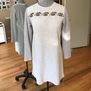 Anthropologie Embellished Knit Dress Petite Small