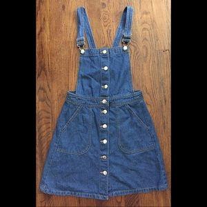 H&M denim button up overall dress