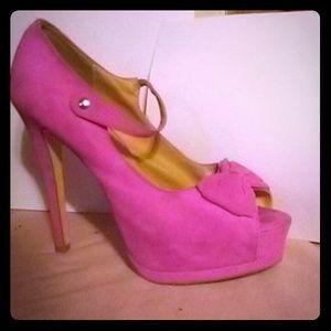 JustFab pink bow heels