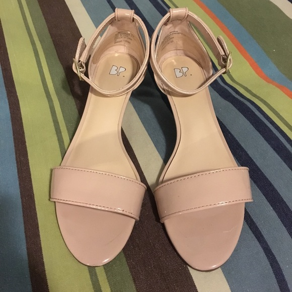 61d4ccdbcebd Roxie wedge sandal. Nude patent faux leather.