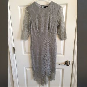 Lulus Light Gray Lace Dress