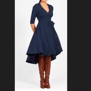 New Eshakti Navy Fit & Flare Wrap Dress L 12