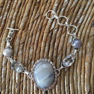 Jewelry - 🛍Botswana Agate, Pearls and White Topaz Bracelet