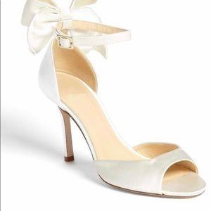 Kate Spade Izzy ivory satin glitter bridal heels