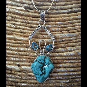 Jewelry - 💕🛍GORGEOUS TURQUOISE AND BLUE TOPAZ PENDANT🌸NEW