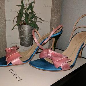 Kate Spade Pink Blue Green Satin Bow Wrap Sandals