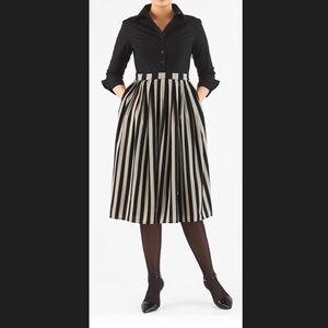 New Eshakti Striped Fit Flare Shirt Dress 18W