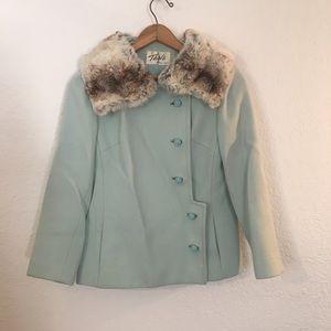 Vintage Tiffany Blue Jacket sheared fur collar