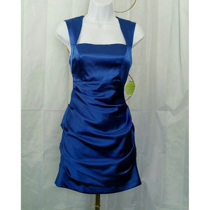 ADRIANA PAPELL BLUE SATIN CUTOUT BACK DRESS
