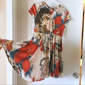 Japanese Silk Dress w flower print NWOT