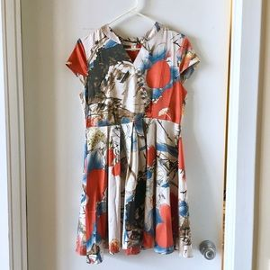 3518df79 Zara Dresses | Japanese Flower Print Floral Silk Dress Mandarin ...